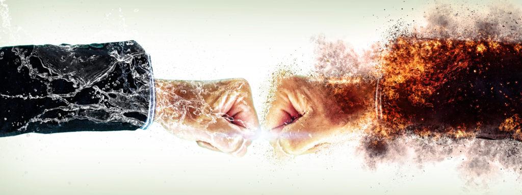 Colliding fists